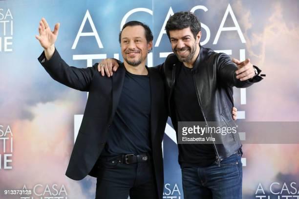 Stefano Accorsi and Pierfrancesco Favino attend 'A Casa Tutti Bene' photocall on February 2 2018 in Rome Italy