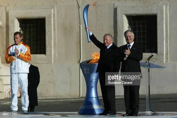 Stefano Baldini Italian Gold Medalist Italian President Carlo Azeglio Ciampi and Torino 2006 President Valentino Castellani stand in front of the...
