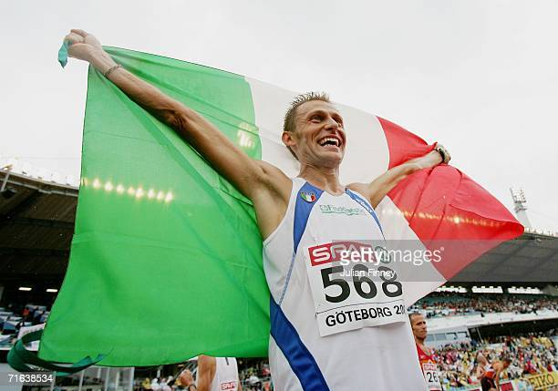 Stefano Baldini of Italy celebrates winning gold during the Men's Marathon on day seven of the 19th European Athletics Championships at the Ullevi...
