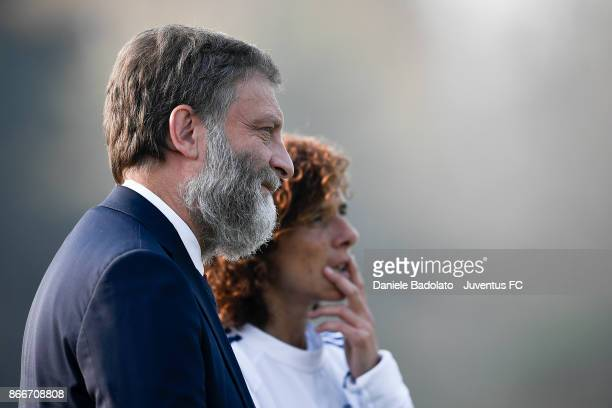 Stefano Braghin and Rita Guarino during a Juventus Women training session on October 26 2017 in Turin Italy