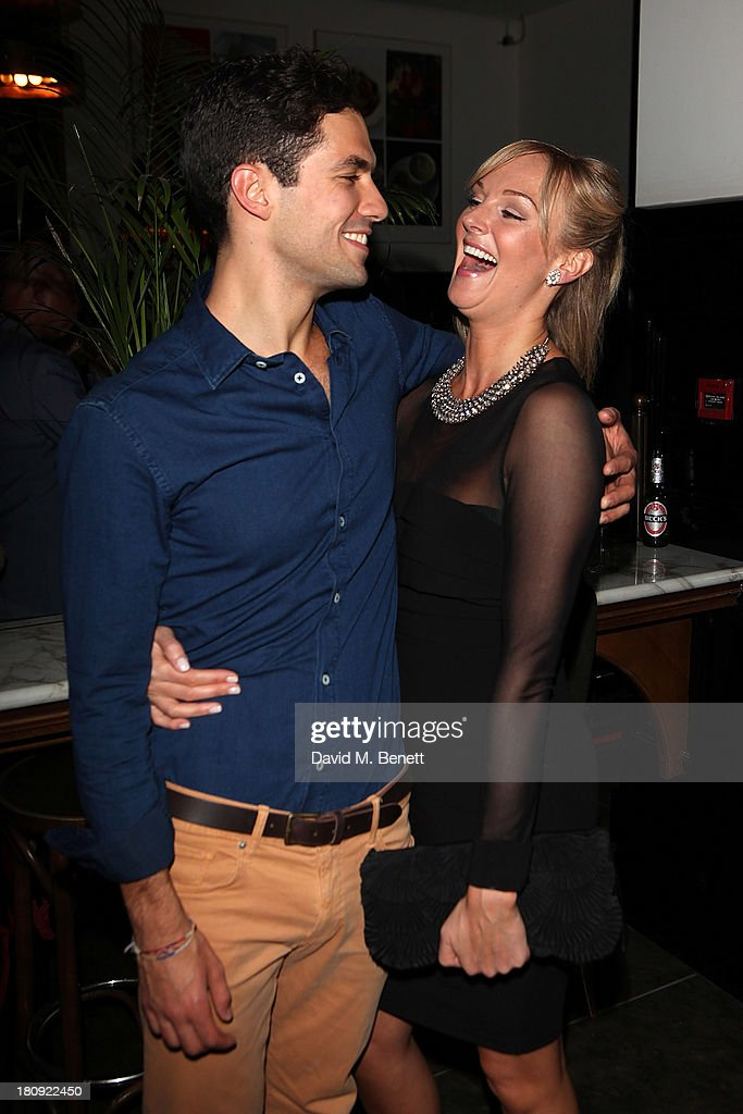 Stefano Braschi and Katherine Kingsley attend an after party following their press night performance of 'A Midsummer Night's Dream' at The National Cafe on September 17, 2013 in London, England.