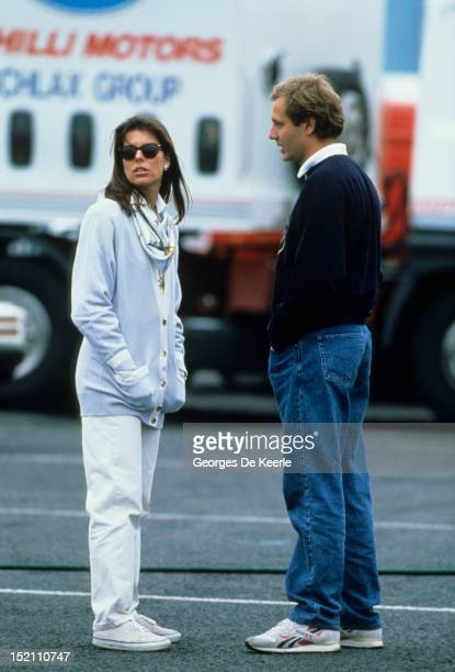 Stefano Casiraghi and Princess Caroline of Monaco during the Off Shore World Championship in Guernsey on September 17, 1988.
