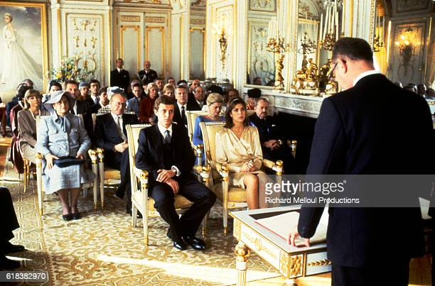 Stefano Casiraghi and Princess Caroline of Monaco listen to an official speak at their wedding on December 29 1983