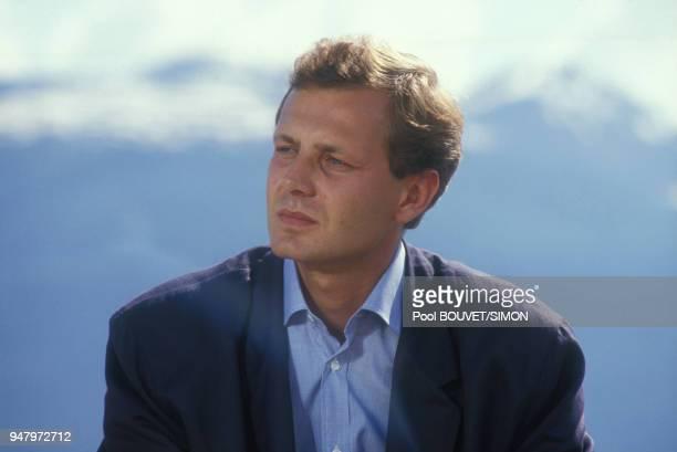 Stefano Casiraghi lors d'une compétition de rafting dans les Alpes le 27 juin 1987 aux Arcs France