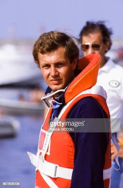 Stefano Casiraghi lors d'une compétition d'offshore le 21 juillet 1985 en Italie.
