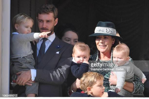 Stefano Casiraghi, Pierre Casiraghi, Maximillian Casiraghi, Sacha Casiraghi, Princess Caroline of Hanover and Francesco Casiraghi attend Monaco...