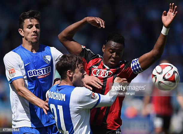 Stefano Celozzi of Bochum and Roger of Ingolstadt compete for the ball during the Second Bundesliga match between VfL Bochum and FC Ingolstadt at...