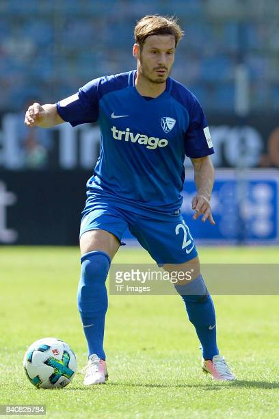Stefano Celozzi of Bochum controls the ball during the Second Bundesliga match between VfL Bochum 1848 and SG Dynamo Dresden at Vonovia Ruhrstadion...