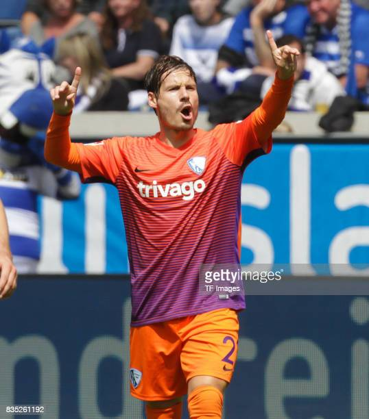 Stefano Celozzi of Bochum gestures during the Second Bundesliga match between MSV Duisburg and VfL Bochum at SchauinslandReisenArena on August 5 2017...