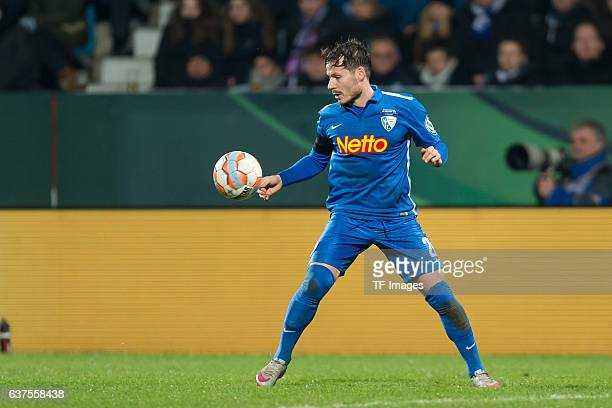 Stefano Celozzi of Bochum in action during the DFB Cup quarter final match between VfL Bochum and Bayern Muenchen at Rewirpower Stadium on February...