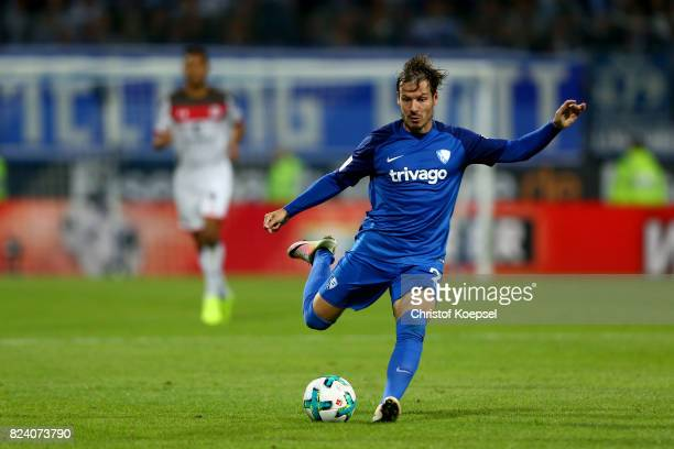 Stefano Celozzi of Bochum runs with the ball during the Second Bundesliga match between VfL Bochum 1848 and FC St Pauli at Vonovia Ruhrstadion on...
