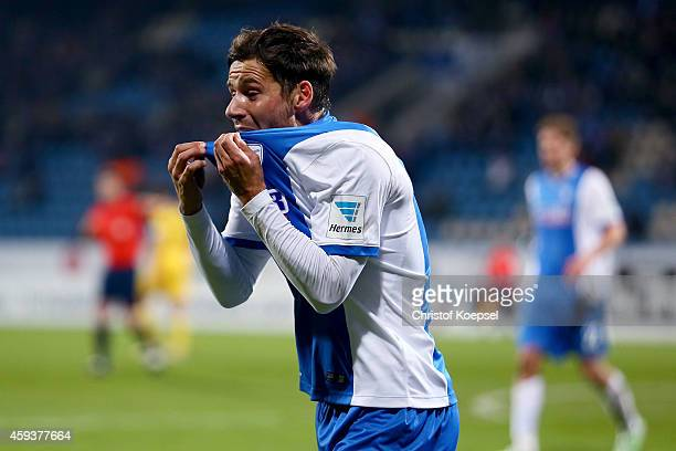 Stefano Celozzi of Bochum shows emotions during the Second Bundesliga match between VfL Bochum and VfR Aalen at Rewirpower Stadium on November 21...