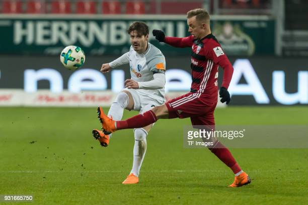 Stefano Celozzi of Bochum und Sonny Kittel of Ingolstadt battle for the ball during the Second Bundesliga match between FC Ingolstadt 04 and VfL...