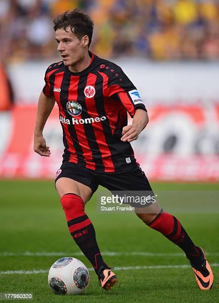 Stefano Celozzi of Frankfurt in action during the Bundesliga match bewteen Eintracht Braunschweig and Eintracht Frankfurt at Eintracht Stadion on...