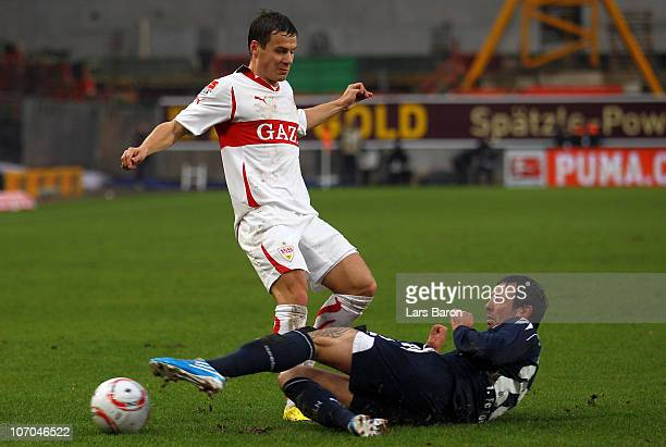 Stefano Celozzi of Stuttgart is challenged by Fabrice Ehret of Koeln during the Bundesliga match between VfB Stuttgart and 1 FC Koeln at MercedesBenz...