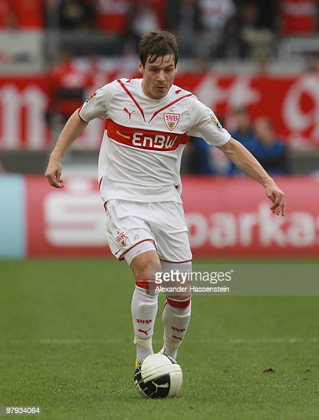 Stefano Celozzi of Stuttgart runs with the ball during the Bundesliga match between VfB Stuttgart and Hannover 96 at MercedesBenz Arena on March 20...