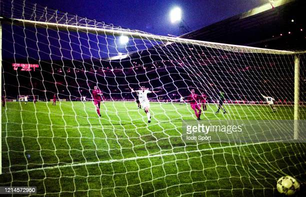 Stefano CUOGHI of Parma celebrate his goal during the European Cup Winners Cup Final match between Parma and Royal Antwerp at Wembley Stadium London...