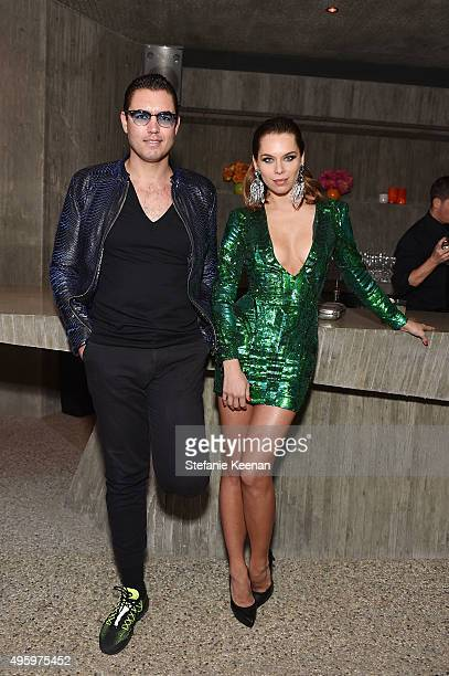 Stefano D'ambrosio and model Liliana Nova attend Jeremy Scott For Longchamp 10th Anniversary held at a Private Residence on November 5 2015 in...