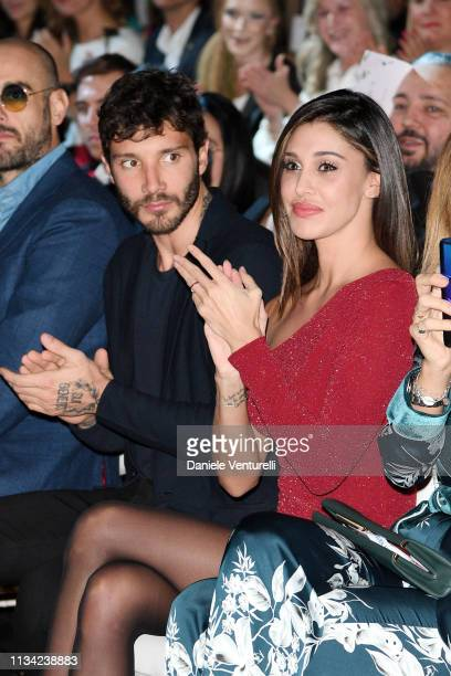 Stefano De Martino and Belen Rodriguez attends Atelier EME Fashion Show on March 07 2019 in Verona Italy