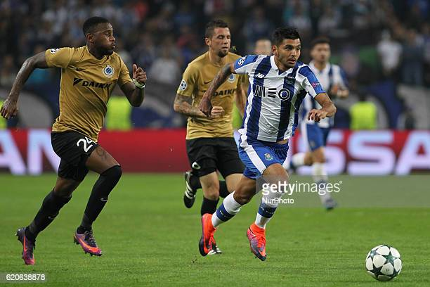 Stefano Denswil defender of Club Brugge with Porto's Mexican forward Jesus Corona during UEFA Champions League Group G match between FC Porto and...