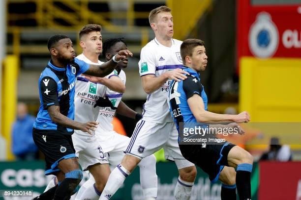 Stefano Denswil of Club Brugge Leander Dendoncker of RSC Anderlecht Robert Beric of RSC Anderlecht Brandon Mechele of Club Brugge during the Belgium...