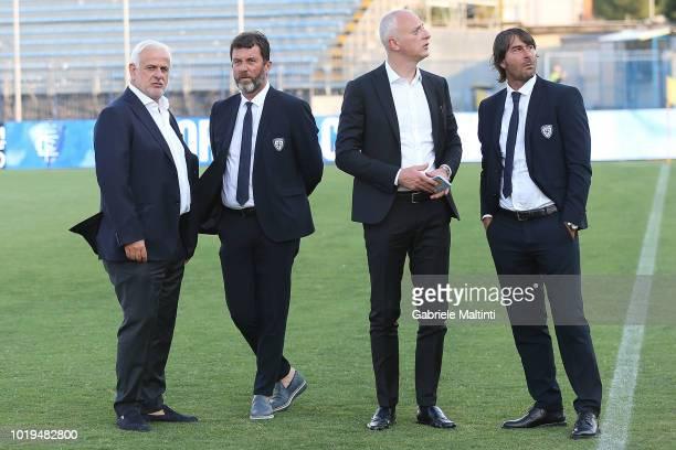 Stefano Filucchi vicepresident of Cagliari Calcio Marcello Carli Mario Passetti and Andrea Conti of Cagliari Calcio look on prior the serie A match...