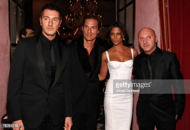 Stefano Gabbana actor Matthew McConaughey model Camila Alves and Domenico Dolce attend the Dolce Gabbana's The One Fragrance Launch and Private...