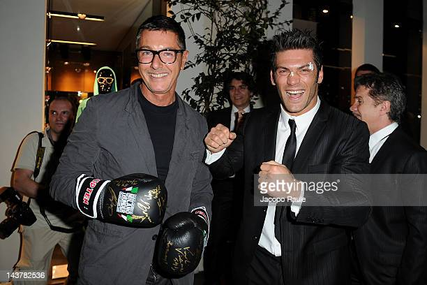 Stefano Gabbana and Clemente Russo attend Dolce Gabbana Milano Thunder Cocktail on May 3 2012 in Milan Italy