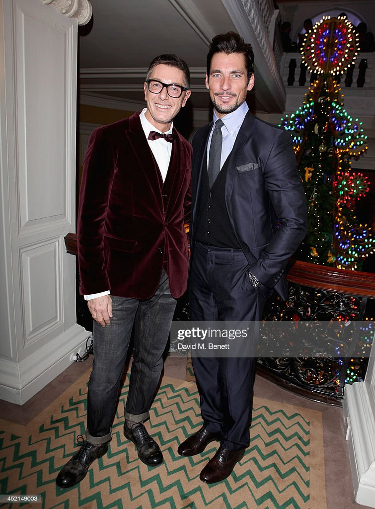 Stefano Gabbana and David Gandy attend Claridge's Christmas Tree By Dolce & Gabbana launch party at Claridge's Hotel on November 26, 2013 in London, England.