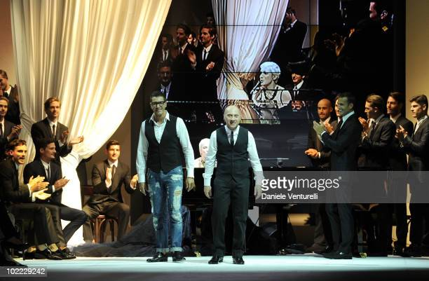 Stefano Gabbana and Domenico Dolce acknoledge the applause of the public after the Dolce Gabbana Milan Menswear Spring/Summer 2011 show on June 19...