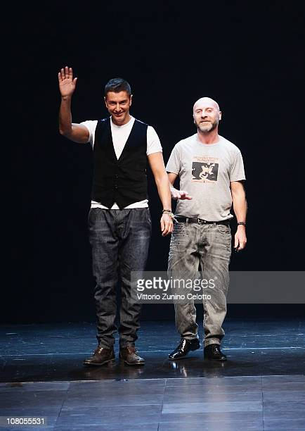 Stefano Gabbana and Domenico Dolce aknowledge the applause of the public during the Dolce Gabbana Fashion Show as part of Milan Fashion Week Menswear...