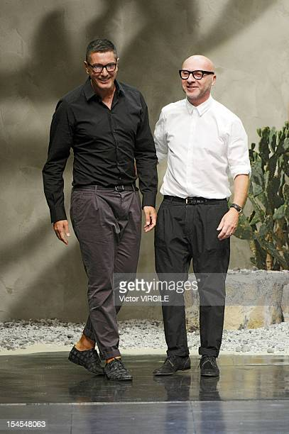 Stefano Gabbana and Domenico Dolce appear on the runway during the Dolce Gabbana show as a part of Milan Fashion Week Womenswear S/S 2013 on...