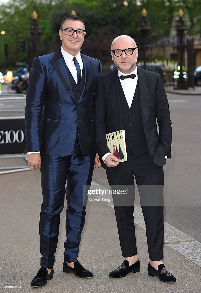 Stefano Gabbana and Domenico Dolce arrive for the Gala to celebrate the Vogue 100 Festival at Kensington Gardens on May 23, 2016 in London, England.