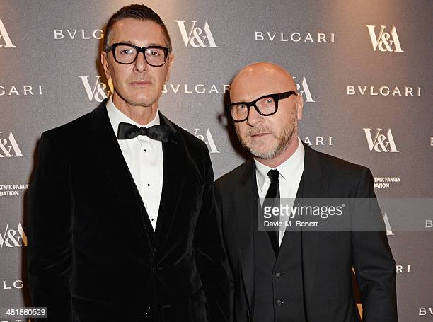 Stefano Gabbana and Domenico Dolce attend a private dinner celebrating the Victoria and Albert Museum's new exhibition 'The Glamour Of Italian...