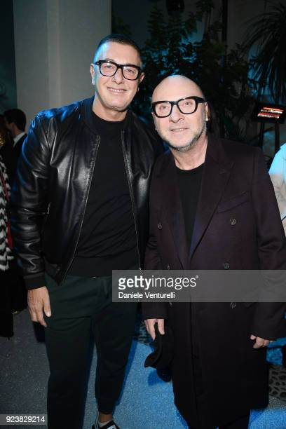 Stefano Gabbana and Domenico Dolce attend the Dolce Gabbana Secret Diamond show during Milan Fashion Week Fall/Winter 2018/19 on February 24 2018 in...