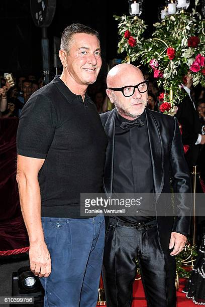 Stefano Gabbana and Domenico Dolce attend the DolceGabbana Boutique Opening Event during Milan Fashion Week Spring/Summer 2017 on September 25 2016...