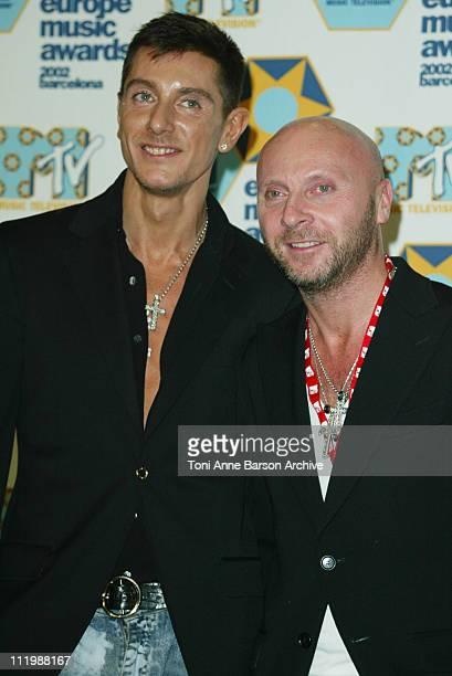 Stefano Gabbana and Domenico Dolce during 2002 MTV European Music Awards Press Room at Palau Sant Jordi in Barcelona Spain