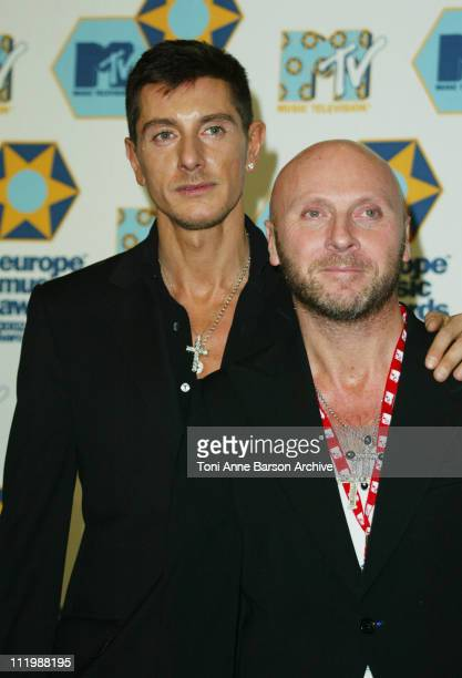 Stefano Gabbana and Domenico Dolce during 2002 MTV European Music Awards Press Room at Palau Sant Jordi in Barcelona Spain