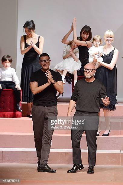 Stefano Gabbana and Domenico Dolce during the runway at the DolceGabbana show during the Milan Fashion Week Autumn/Winter 2015 on March 1 2015 in...