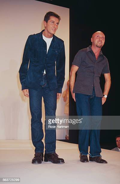 Stefano Gabbana and Domenico Dolce on the runway of their fashion show at Bryant Park New York City circa 1995