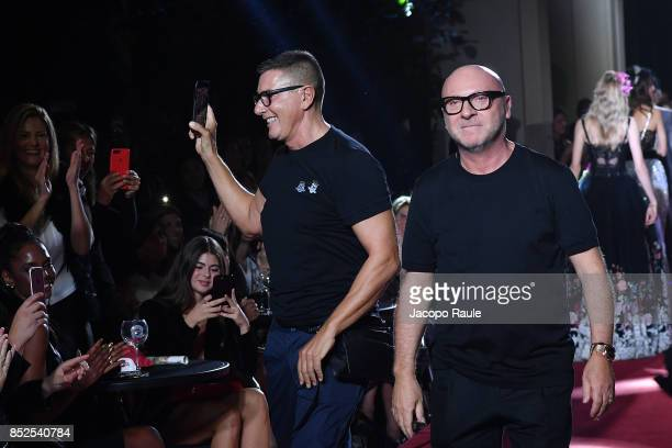 Stefano Gabbana and Domenico Dolce walk the runway at the Dolce Gabbana secret show during Milan Fashion Week Spring/Summer 2018 at Bar Martini on...