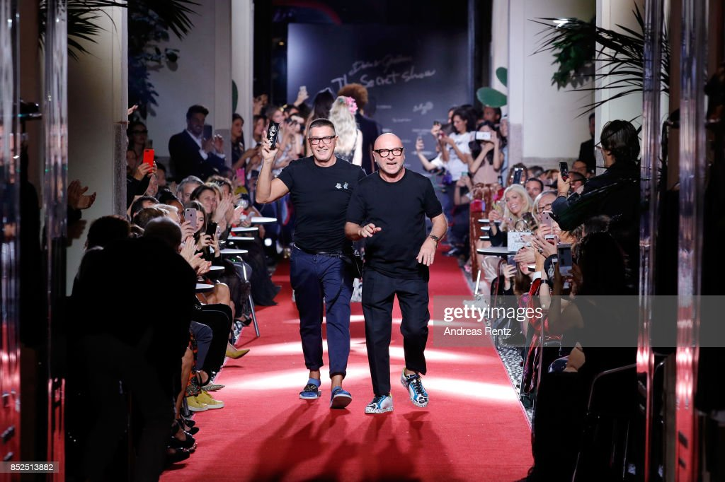 Stefano Gabbana and Domenico Dolce walks the runway at the Dolce & Gabbana secret show during Milan Fashion Week Spring/Summer 2018 at Bar Martini on September 23, 2017 in Milan, Italy.
