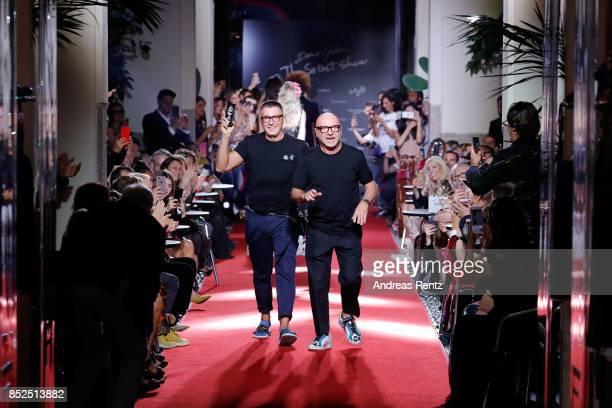 Stefano Gabbana and Domenico Dolce walks the runway at the Dolce Gabbana secret show during Milan Fashion Week Spring/Summer 2018 at Bar Martini on...
