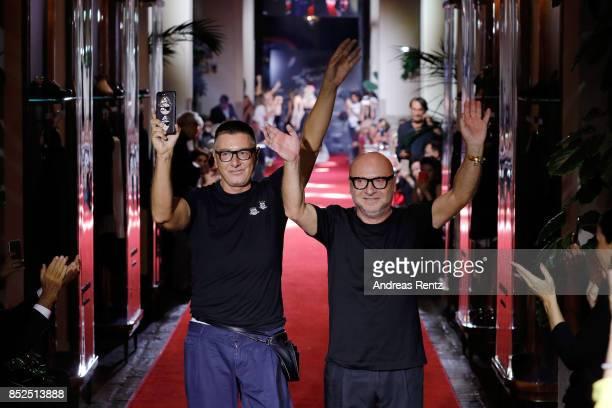 Stefano Gabbana and Domenico Dolce walks the runway at the Dolce & Gabbana secret show during Milan Fashion Week Spring/Summer 2018 at Bar Martini on...