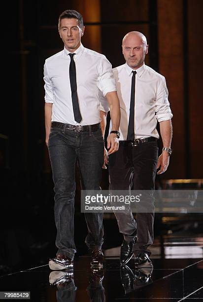 Stefano Gabbana and Domenico Dolcel walk the runway during the Dolce Gabbana show as part of Milan Fashion Week Autumn/Winter 2008/09 on February 21...