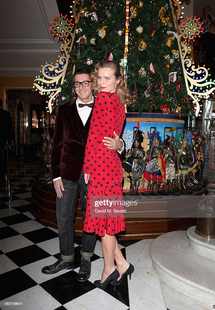 Stefano Gabbana and Eva Herzigova attend Claridge's Christmas Tree By Dolce & Gabbana launch party at Claridge's Hotel on November 26, 2013 in London, England.