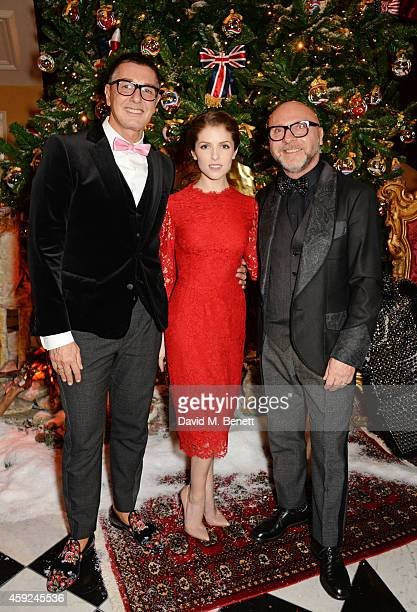 Stefano Gabbana Anna Kendrick and Domenico Dolce attend the Claridge's Dolce and Gabbana Christmas Tree party at Claridge's Hotel on November 19 2014...