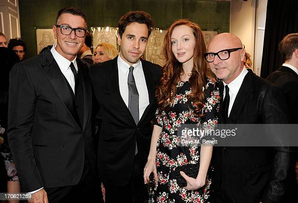 Stefano Gabbana Diego Bivero Volpe Olivia Grant and Domenico Dolce attend the opening of the new Dolce Gabbana men's store with a preview of the...