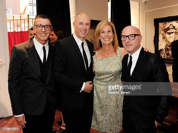 Stefano Gabbana Dylan Jones Jo Levin and Domenico Dolce attend the opening of the new Dolce Gabbana men's store with a preview of the Summer 2014...