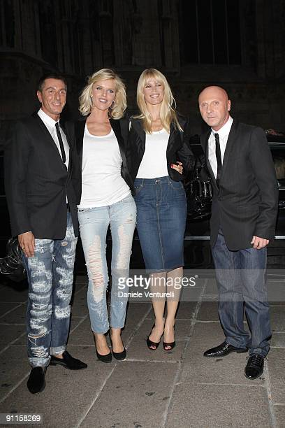 Stefano Gabbana Eva Herzigova Claudia Schiffer and Domenico Dolce attends DG Perfumes Collection Launch at La Rinascente Piazza Duomo during Milan...